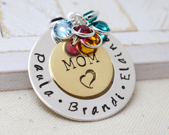 Personalized Mothers Birthstone Necklace, Names Necklace, Necklace for Mom, Mommy Jewelry, Mothers Gift, Christmas Gift for Mom, Xmas Gift