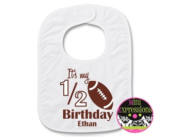 Football 1/2  Birthday BIB Personalized With Any NAME
