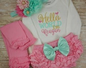 Newborn, Baby girl, coming home outfit, take home outfit, Baby girl clothes, Hello World, bodysuit, bloomer, headband, legwarmers, outfit