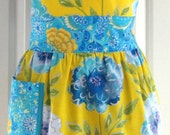 Women's Apron - Retro Apron - Floral Apron - Full Apron - Cotton Apron - Yellow Apron - Lined Apron