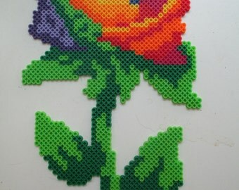Gay pide, Rainbow, rainbows, Gay pride art,  Rainbow rose, rose, perler art, perlers, geeky art, nerdy art, pride, pride art, love,