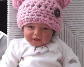 Blossom Pink Pom Pom Hat....Baby Girl....Newborn, 0 to 3 month & 3 to 6  Month Sizes -  Adorable Photo Prop -  Ready - to - Ship