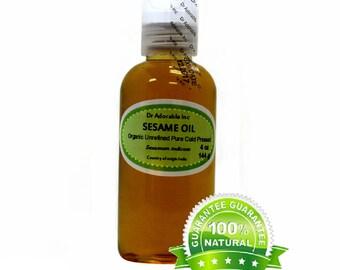 4 oz Sesame Seed Oil Unrefined Pure & Organic Cold Pressed
