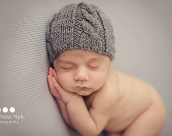 Newborn photo prop, newborn hat, newborn boy, newborn girl, knit newborn hat, newborn props, newborn knit hat, Newborn cable beanie.