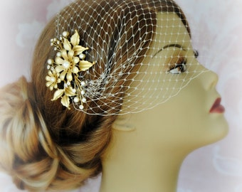 Birdcage Veil and Gold Flower Set, Bandeau Veil, Rustic Bird Cage Veil With Pearl and Crystal Hair Clip - MAGGIE