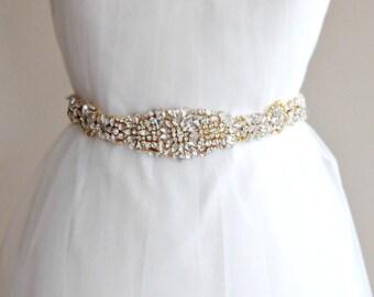 """Gold Swarovski Crystal Skinny Sash, Gold Bridal Sash, Off White, Ivory, Champagne Wedding Belt, 24"""" of Rhinestones- ARIEL"""