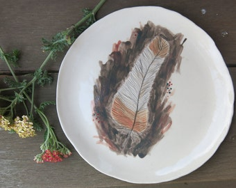 Ceramic Art Plate Woodland Bird Feather Pink and Grey One of a Kind Gift Idea Home Decor, Handmade Artisan Pottery by Licia Lucas Pfadt