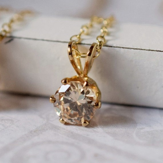 Tiny CZ Necklace Champagne Necklace Solitaire Minimal Gold Filled Citrine Cubic Zircon Pendant Rose Gold Necklace Boho Bridal Peach Wedding
