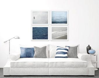 nautical art set of 4 prints, coastal gallery wall set of 4, coastal prints, minimal beach art, abstract beach art, nautical decor, blue art