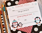 Christmas Fill In The Blank Thank You Notes | Penguin Fill In The Blank Thank You Note | Penguin Thank You Note | Christmas Thank You Note