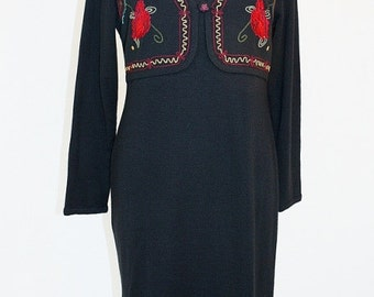 1990's Black Vested Dress Embroidered Knit Size Large Vintage Retro 90's Carole Little Office Red Roses Floral Boho