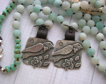 Knotted necklace - Song Bird - Boho jewelry bohemian, heart, silver, bronze, love, bird jewelry amazonite necklace, country wedding sky blue