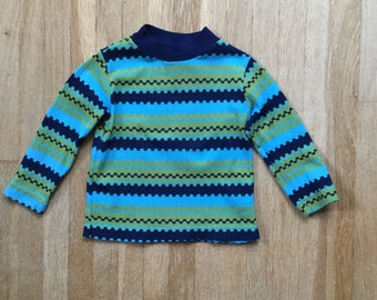Vintage 70s / Baby Boy / Toddler / Blue and Lime Green / Striped / Long Sleeve / Top / Shirt / 18-24 months