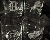 4 DETROIT Sports Teams Etched Rocks/Whiskey Glasses - 1 each: Tigers, Lions, Red Wings & Pistons
