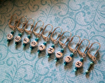 String Bling, Beaded Removable Stitch Markers, Project HOOK Size REMINDER, Knit Crochet Yarn Charms Set of 9+1 to mark your place, TEAL Aqua