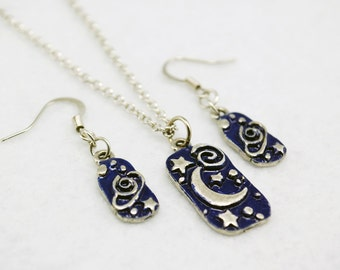 Blue Space Jewelry Set in Silver - Planet Jewelry, Moon and Stars Jewelry, Hand-painted, Limited Edition