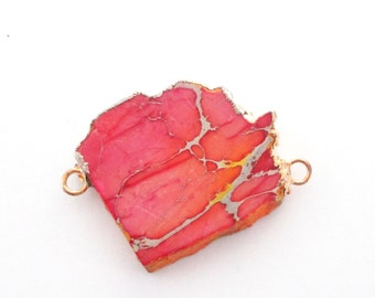 Coral Pink Jasper Connector - Double Loop Impression Jasper Link - Flat Slice Focal Pendant - Gold Edged Gemstone - DIY Jewelry Making