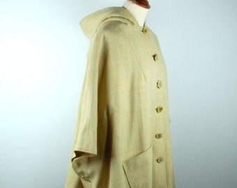 Hooded Poncho with Antler Button and Toggle Detail
