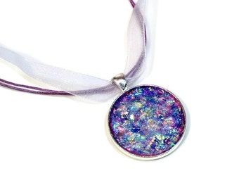Faux Druzy Necklace, Glitter Jewelry, Purple Lavender Pendant, Opal, Gift for Her