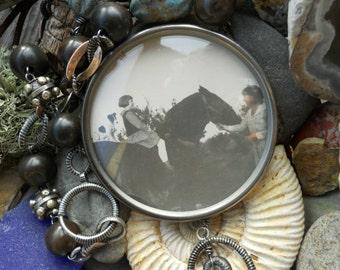 Momma,Jacks and Horses....Antique Photo Locket Equestrain Dog Assemblage Necklace