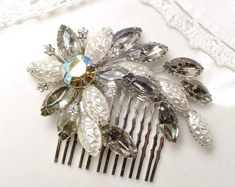 Vintage Gray & Ivory Bridal Hair Comb, Black Diamond Rhinestone Pearl Brooch to OOAK Silver Hair Accessory, Charcoal Pewter Grey Hairpiece