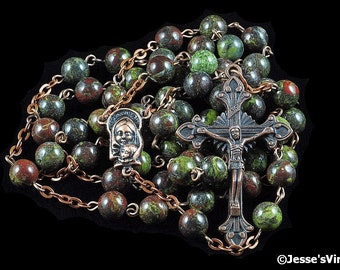 Catholic Rosary Beads Rustic Red Green Dragon Blood Copper Natural Stone Traditional Jasper Rosary Five Decade