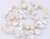 Large Keishi Pearl Necklace, White Aqua, Pearl Necklace, Aquamarine Gemstone Necklace, 18.5 inch