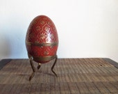 Vintage Brass and Red Enamel Egg Box with Stand