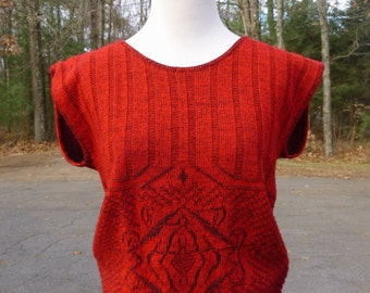 Vintage Red And Black Sweater Vest By Kate Collins