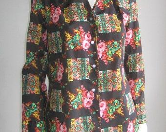 70s vtg blouse flower art noveau
