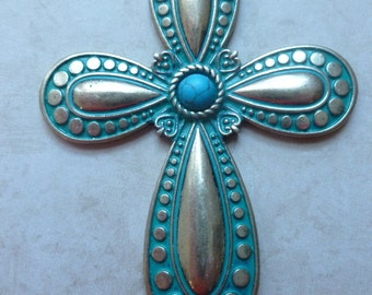 Cross Magnet - Brass/turquoise color