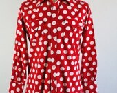 SALE - Vintage Red White Polka Dots Western Style Snap Button Casual Dress Shirt - Mens Size Small