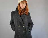 Vintage 80s Women's Dark Gray Wool Fall Winter Military Style Peacoat Short Coat