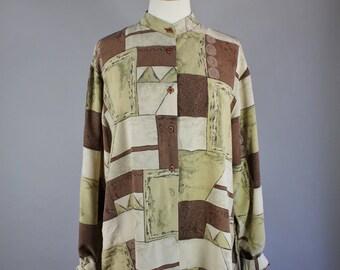 Vintage 90s Women's Geo Design Modern Art Brown Cream Band Collar Long Silk Blouse Shirt