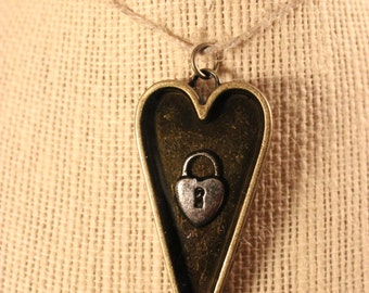 Dual Sided Lock and Key Heart Epoxy Pendant
