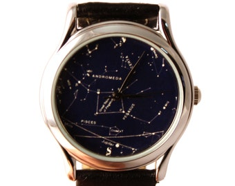 Vintage Constellation Watch Leather Watch Ladies Watch Mens Watch Gift Idea Custom Watch Fashion Accessory Northern Hemisphere Andromeda