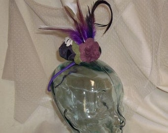 Purple Valentine Fascinator- Purple Button with Lace, Flower and Feathers- Headband- Mini Hat