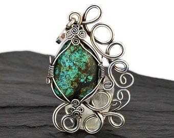 Boho Turquoise Pendat, Turquoise Silver Necklace, Blue Turquoise Pendant, Silver Pendant, Silver Turquoise Pendant, Turquoise Necklace