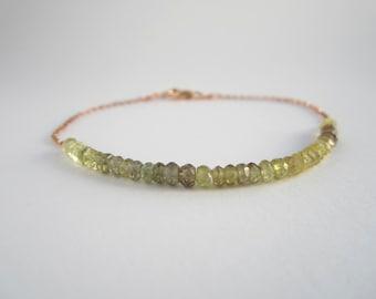 Moss Tundra Sapphire Bracelet - soft green rondelle-cut sapphires on rose gold chain