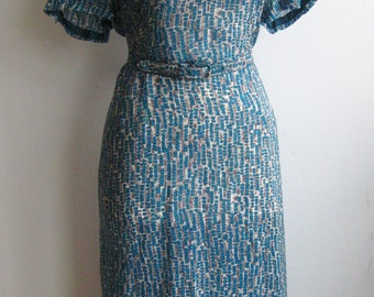 Vintage 40s 50s Blue Print Silk Wiggle Dress & Bolero Jacket Set XL