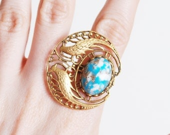 Vintage 60s 70s Brass Filigree RING / Art Nouveau Birds Turquoise Stone