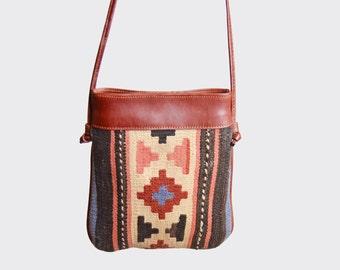 Vintage 90s KILIM PURSE / 1990s Turkish Wool & Leather Shoulder CROSSBODY Bag