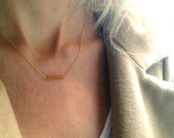 Citrine Bar Necklace - Gold Filled Citrine Necklace - November Birthstone - Yellow Birthstone