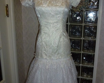 Vintage 80s Lorraine White Lace Dress Portrait Drop Waist Handkerchief Hem Princess S