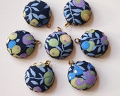 Liberty Fabric Charms 20mm Navy Blue Floral set of 7 Charms DIY Earrings, Necklace, DIY Jewelry, Bridesmaid