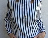 Black and White Striped Puff Sleeve Blouse