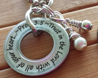 Trust in the Lord with all of your heart...Proverbs 3:5... 13/16 in. silver washer pendant with chain