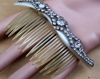 Hollywood Regency mid century rhinestone hair comb hair jewelry hair accessories decorative comb hair ornament