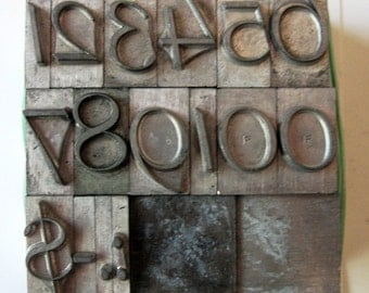Vintage Metal Letterpress Type XL Italic Numbers 25 Piece Complete