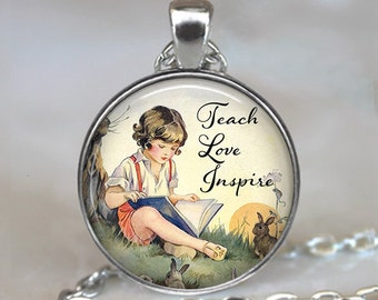 Teach, Love, Inspire necklace, Teach Love Inspire pendant, teacher's gift, gift for teacher, inspirational quote key chain key ring